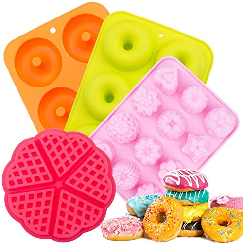 Moldes de Silicona Donut,Resistente al Calor a 300 °C,Adecuado para Pasteles,Galletas,Bagels, Muffins-Naranja,Rosa Roja,Verde,6 cavidades,Paquete de 3