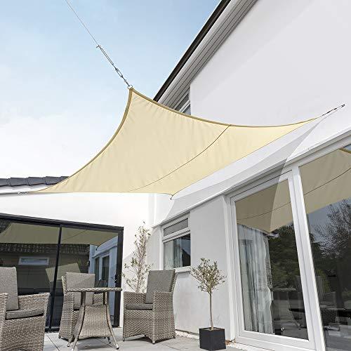 Kookaburra Wasserfest Sonnensegel Sandfarben Wasserabweisend Imprägniert Wetterschutz 98% UV Schutz für Garten Terrasse und Balkon (2,0m Quadrat)