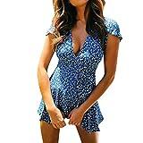 LOPILY Elegante Strandkleid Damen Blumendruck Gekräuselte Geraffte Saum Sommerkleider Partykleid Sommer Modisch V-Ausschnitt Schlinge Minikleid Kleider