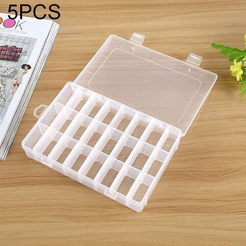 QICHENGBIN Mini Coffret à Bijoux 5 PCS en Plastique Amovible Grille 24 emplacements Boîte Organisateur de Stockage de conteneurs, for Les Bijoux Boucles d'oreilles