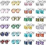 CASSIECA 24 Pares Acero Inoxidable Pendientes para Hombre Mujer Circoniña Redondos Cuadrados Piedra de Nacimiento Pendientes Multicolor 5MM