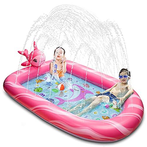 BOOMART Toddler Pool, Splash Pad, Sprinkler for Kids, Outdoor Kiddie Pool Toys for Babies Kids and Toddlers(Pink)