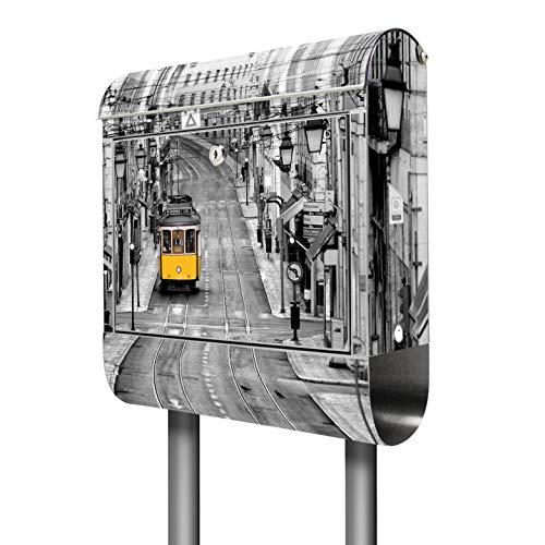 Banjado Briefkasten Edelstahl mit Ständer | Postkasten freistehend 146x36x14cm | Standbriefkasten mit Zeitungsfach und Namensschild Motiv Lissabon