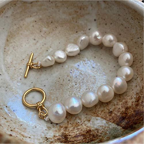 LAYYYQX Pulsera de Perlas barrocas de 8 mm de Plata esterlina s925, Pulsera con Hebilla OT de Oro de 18 k para Mujer, Regalo de joyería