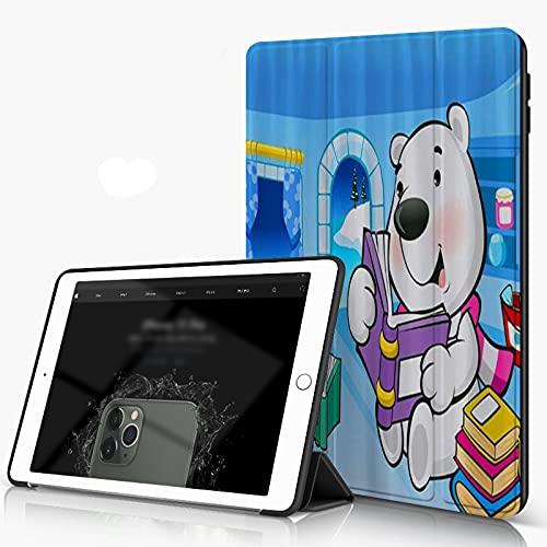 Custodia per iPad 10.2 2019, L orso Polare e Il Pinguino del Fumetto dei Bambini Stanno leggendo Smart Cover con Supporto a Tre Ante in PU con Retro Rigido [Auto Sleep Wake]