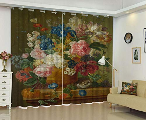 YJRXSS Cortinas Aislantes Flores De Colores 2 X W 75 X L 166 Cm para Dormitorio Salón Habitación Comedor con Aislamiento Térmico para Decoración De Ventana 2 Paneles
