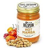 Big Spoon Roasters Hot Peanut Butter w/ Chiles & Sea Salt - Low Sugar Peanut Butter - Hot, Sweet, Creamy Peanut Butter w/ Organic Peanuts - Keto, Palm Free, Vegan Habanero Peanut Butter - 13 Ounces