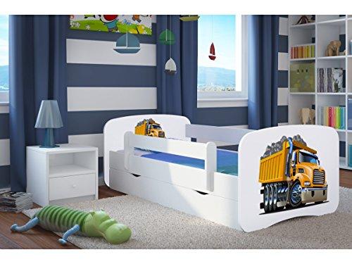 CARELLIA 'Kinderbett LKW 80x 180cm mit Barriere Sicherheitsschuhe/Lattenrost–Schubladen und Matratze Offert.–Weiß