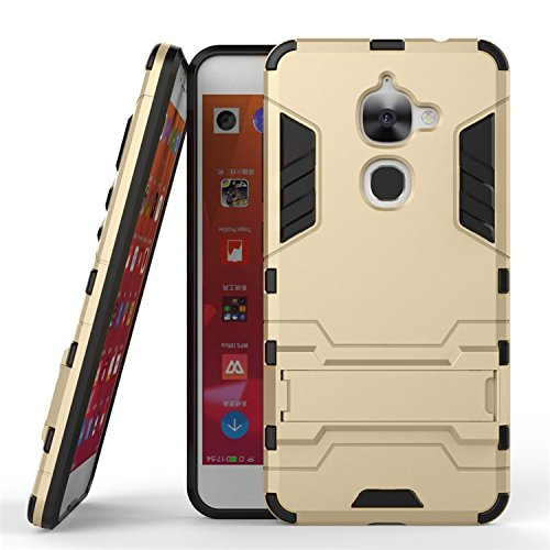Qiaogle Telefon Case - Shockproof TPU + PC Hybrid Ständer Schutzhülle Case für Letv LeEco Le 2 X620 / LeEco Le 2 Pro (5.5 Zoll) - HK03 / Golden