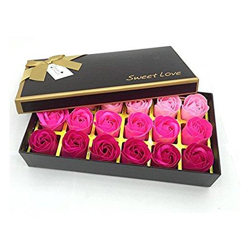 Xrten 18 Pezzi Fiore del Sapone,Profumato Fiori del Sapone Rose Creativo Regalo per la Festa di Compleanno San Valentino Rosa
