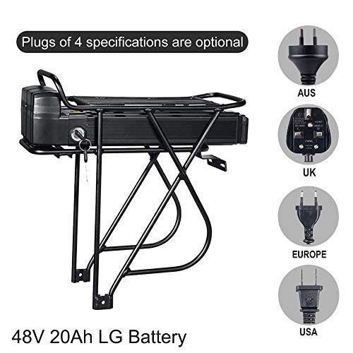 E-Bike-Akku 48V 20Ah Lithium-Ionen-Akku mit Rücklicht Mountainbike-Akku Lithium-Akku mit LG-Akkus + BMS + Ladegerät für 48V 1000W 1500W 2000W Bike Motor Kit(Only Battery, 48V 20Ah LG Battery)