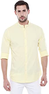 Dennis Lingo Men's Solid Chinese Collar Yellow Casual Shirt