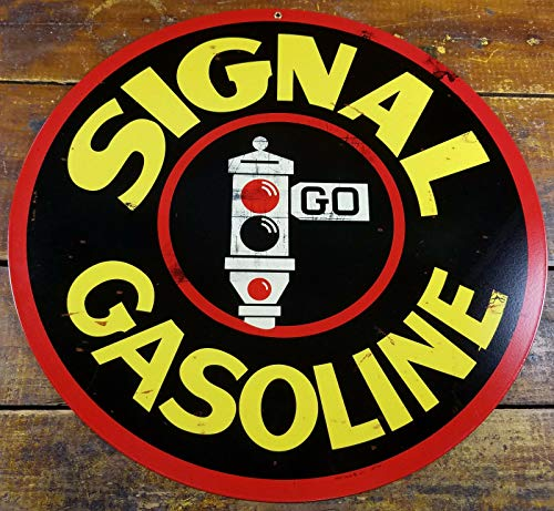 Signal Gasoline Traffic Stop Light Logo Gas Station Round ADV Metal Sign Metal Sign Plaque 12x12 Inch