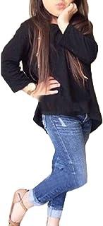 gawaga 女の子ファッション衣装セットロングスリーブTシャツトップス+ジーンズパンツ