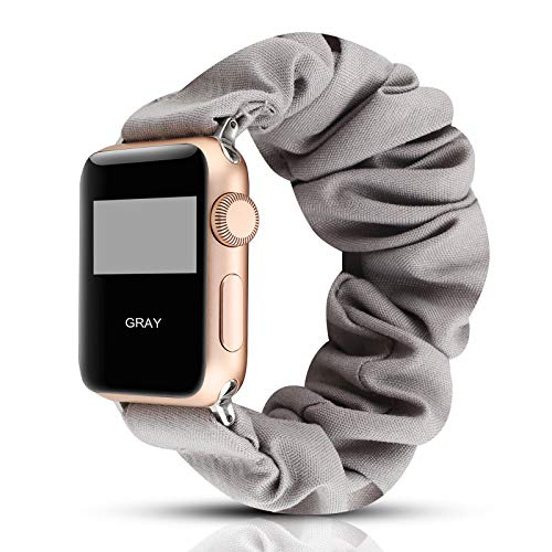 Scrunchie Elastic Wrist Bracelet Compatible for Apple Watch Band 38mm/40mm, Fancy Elastic Hair Wristbands Replacement for iWatch Series 5/4/3/2/1 Women Girls (Gray with Series 5/4 Clear Case, 38mm/40mm)