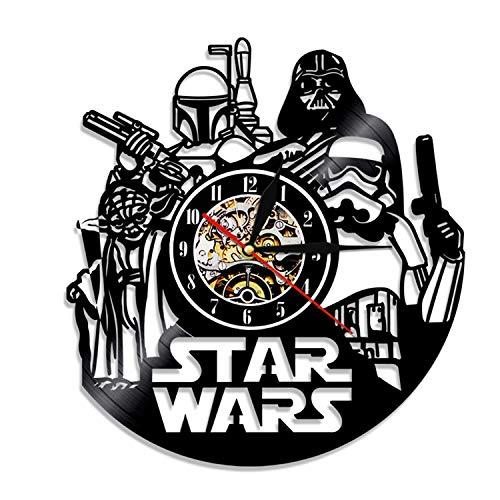 HQYMY Récord de Vinilo Reloj de Pared-Star Wars Series Wall Clock-Único Sala de Estar Dormitorio Dormitorio Colgando Adornos-Navidad Noche Decoración (Style : D)