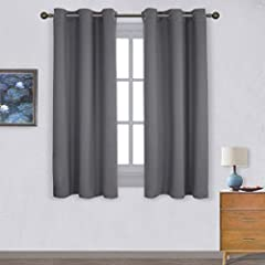"""READY MADE: Set includes 2 BLACKOUT CURTAINS PANELS of 42"""" wide x 63"""" length with 6 grommets top each. Quality fabric without liner feels soft and heavy. SERVE WELL: Curtains impede 85%-99% light and UV rays(Dark color curtains work well). Noise-redu..."""
