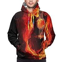 メンズフーディーギターオンファイアユニセックス3Dノベルティスウェットシャツプルオーバーポケット付きカジュアル、XXL