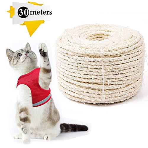 Cuerda de Sisal Gatos,Cuerda de Sisal 6mm,Cuerda de Sisal,Cuerda de Reemplazo para Arañar Reparar, Juguete de Mascotas, Accesorios de Bricolaje Manualidades (30m, 6mm)