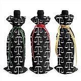 3 pièces sacs de couverture de bouteille de vin chaud noir échelles de justice sur blanc décoration réutilisable bouteille de vin sacs-cadeaux Table Champagne
