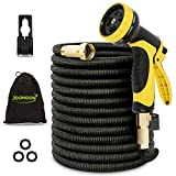 Panda Grip Garden Hose, Expandable Garden Hose,75ft Water Hose,Lightweight Flexible Triple Extension, 9 Latex Core with 3/4 Solid Brass Fittings,10 Function Spray Nozzle, Leak Resistant
