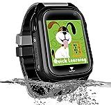 Impermeable GPS Smartwatch para Niños, Reloj inteligente Phone con GPS LBS Tracker SOS Chat de voz Cámara Despertador Podómetro Juego Cálculo para Regalos Estudiantes Compatible con iOS Android, Negro