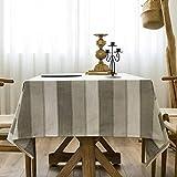 Mantel a Rayas Impermeable Mantel de Lino de algodón Puro Paño...