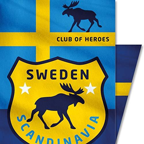 Club of Heroes Schweden Tuch, nahtloses Multi-Funktiontuch 25 x 50 cm/Bandana, weiche Mikrofaser/Halstuch Kopftuch Schal Stoff-Maske Mundschutz/Sweden Skandinavien Reise Reiseführer Flagge Patches