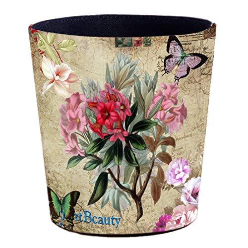 Batop Papierkorb Vintage, 10L PU Leder Wasserdicht Papierkorb mit Morgenruhm Motiv Mülleimer Dekorativ Papierkorb für Schlafzimmer, Büro, Wohnzimmer
