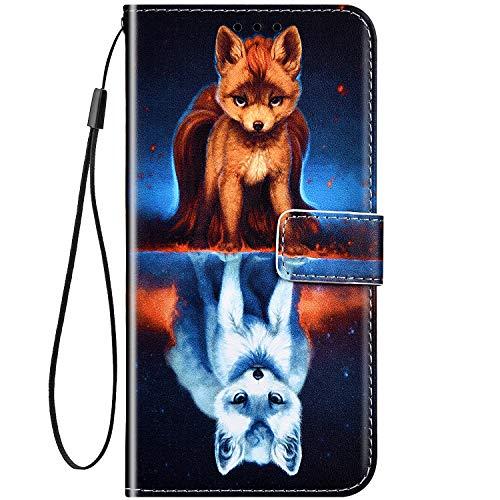 Hpory - Funda de piel para Samsung Galaxy J4 Plus, Zorro de noche.