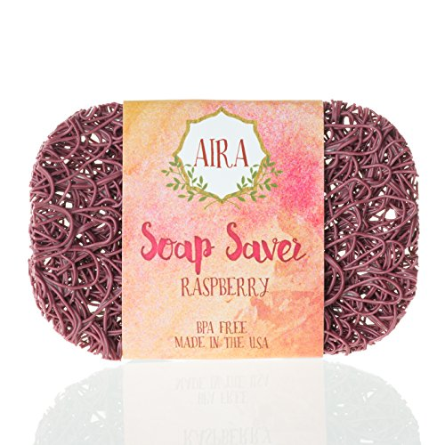 Aira Soap Saver - Soap Dish & Soap Holder Accessory - BPA Free Shower & Bath Soap Holder - Drains Water, Circulates Air, Extends Soap Life - Easy to Clean, Fits All Soap Dish Sets - Raspberry