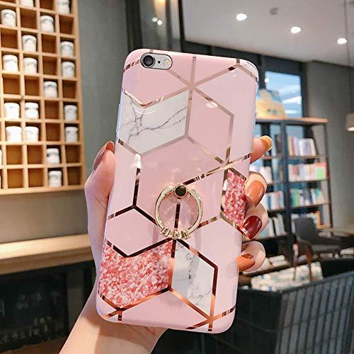 Herbests Kompatibel mit iPhone 8 / iPhone 7 4.7 Hülle Handyhülle Marmor Muster Glänzend Glitzer Bling Weich Silikon Hülle Kratzfest Schutzhülle Tasche Crystal Case Ring Halter Ständer,Rose Gold