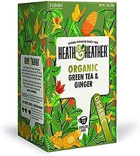 Heath & Heather Té Verde y Jengibre Orgánico, 40g, caja de 20 sobres