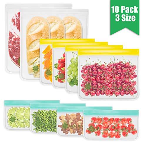 MELLIEX 10 Stück Wiederverwendbare Gefrierbeutel, 3 Größen PEVA Zip Obst und Gemüsebeutel in Lebensmittelqualität von der für Obst Gemüse Snacks Fleisch und Brot