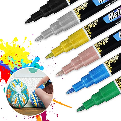 Acrylic Paint Pens for Rock Painting Kit, Glass,Craft,Ceramic, Stone,Fabric,Wood, Eyeleaf 6 Colors Permanent Marker Pen,Arts and Craft Sets for Adults Kids,Craft Supplies Scrapbook Card Making (6PC)