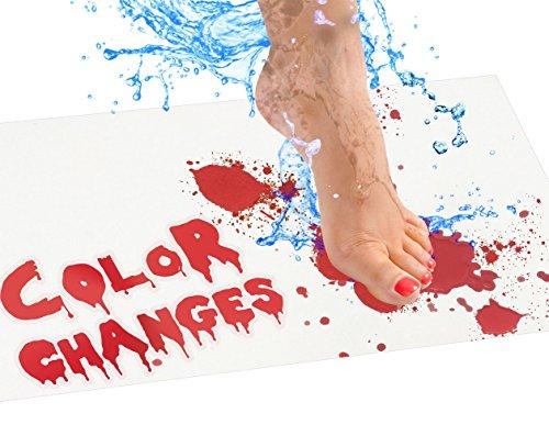 Bloody Badematte - Farbwechsel Badvorleger Laken rot bei Nässe - Machen Sie Ihre eigenen blutenden Fußabdrücke die weiß Verschwinden - Laken für Dusche/Bad Regulär Mat weiß