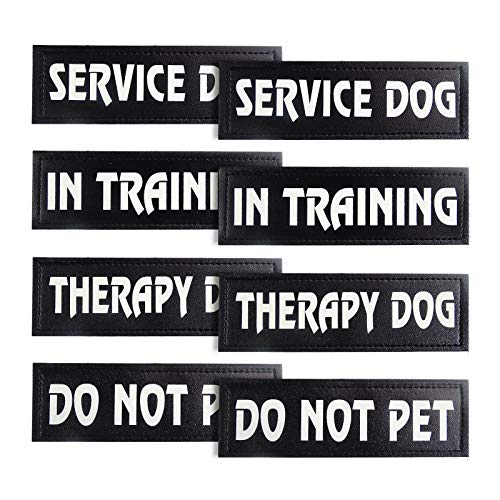8 Pieces Dog Patches, Reflective and Removable Tactical Dog Tags, Service Dog, Do Not Pet, Therapy Dog, in Training for Animal Vest Harnesses, Collars, Leashes