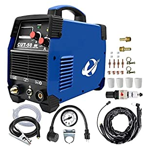 Plasma Cutter, CUT50 50 Amp 110V/220V Dual Voltage AC DC IGBT Cutting Machine with LCD Display and Accessories Tools from cora