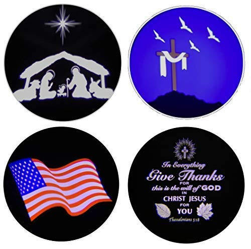"""Beffy Arts Christian Themed 4-in-1 Projector Featuring Nativity Light for Christmas,""""Give Thanks"""" Bible Verse for Thanksgiving, Shrouded Cross for Easter, Waving Flag for July 4th and Memorial Day"""