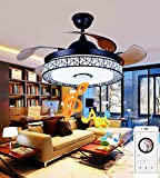 Sweety House 42'Bluetooth Music Ceiling Fan Ceiling Light, Multi-Function Remote Control LED Stealth Retractable Blade Adjustable Tri-Color Light and 3 Wind Speed Ceiling Fan Light Lighting Decorati(42'-black)
