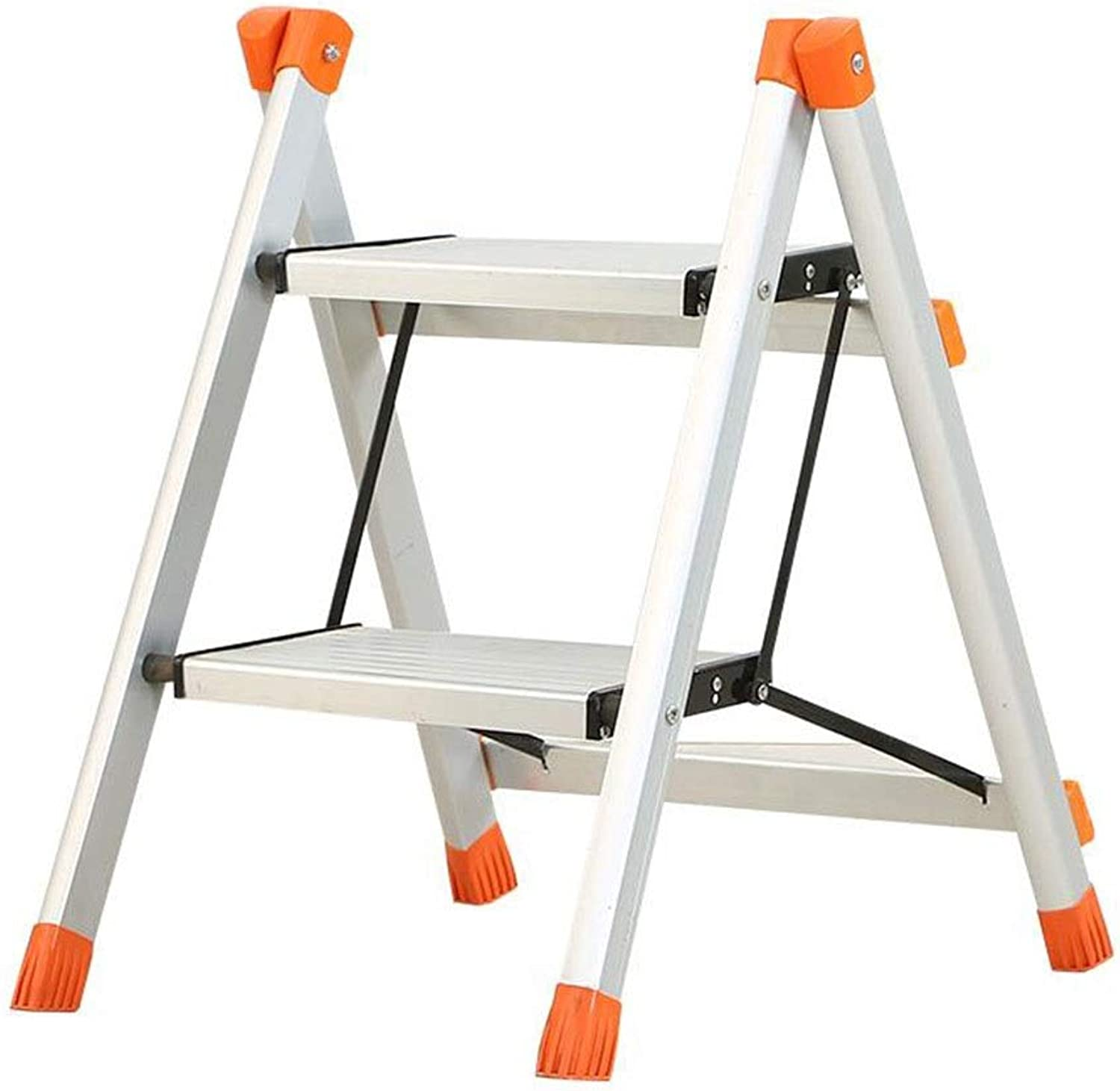Stools Step Stool New Aluminum Alloy Folding Ladder Stool Home Indoor Stairs Two Steps Thick Step Step Ladder Kitchen Courtyard Factory Supermarket Climb Ladder ( color   Silver , Size   575339cm )
