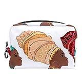 TIZORAX - Neceser de maquillaje para mujer afroamericana en turbante, neceser para el cuidado de la piel, neceser práctico con cierre