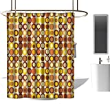 <span class='highlight'><span class='highlight'>TimBeve</span></span> Polyester Shower Curtain Mid Century,Kitsch and Retro Styled Round Edged Square Pattern in Old Earth Tones,Brown Yellow Coral,3D Effect Bathroom Curtain 47