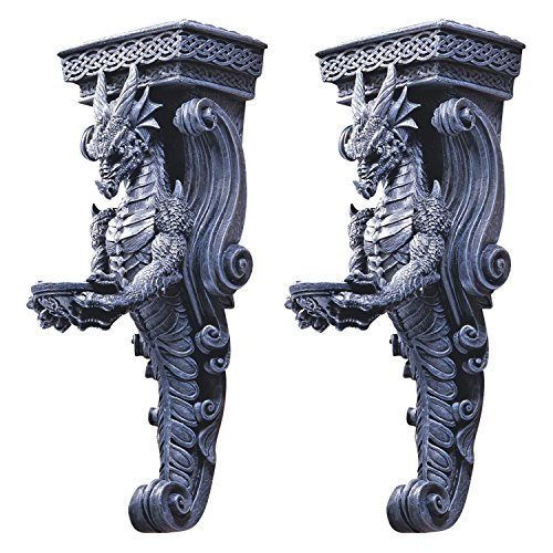 Design Toscano Drachen von Darkmoor Castle, Wandkaryatiden - 2er-Set