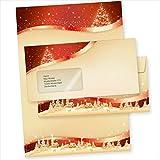 TATMOTIVE 05-0145-0090-00101 ROT-GOLDEN 100 Sets Weihnachtsbriefpapier mit...