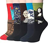 Chalier Pack de 4/5 Mujer Niña Calcetines Originales Ocasionales Estampados Divertidos Impresos de...