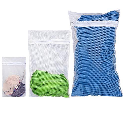 ArtMoon Trio Set de 3 Bolsas Protectoras para Lavadora, Mallas de Lavander?a para Proteger Ropa Delicada, 40X25cm 70X50cm 60X90cm, Color Blanco