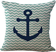 Sailing Printed Patterned Stuffed Cushion ChezMax Zippered Linen Cotton Blend Throw Pillow Insert Square Decorative 18X18 ...