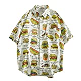 Hamburger Printed Shirts for Men Forthery Summer Fashion Shirts Casual Short Sleeve Beach Tops Loose Casual Top(White,XXL=US L)