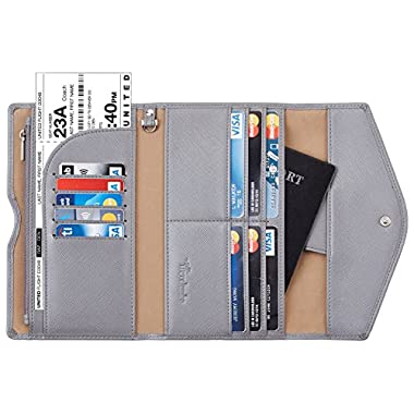 Travelambo Rfid Blocking Passport Holder Wallet & Travel Wallet Envelope 7 Colors (steel gray)